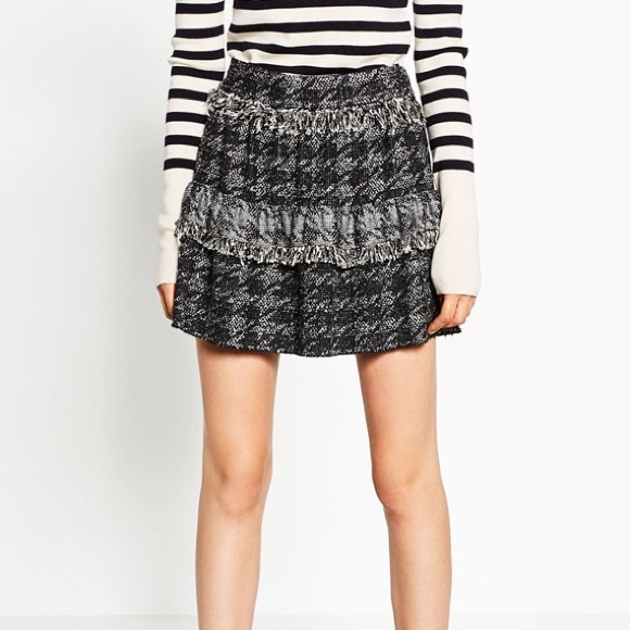 410957dcf0 Zara Skirts | Frilly Tweed Skirt | Poshmark